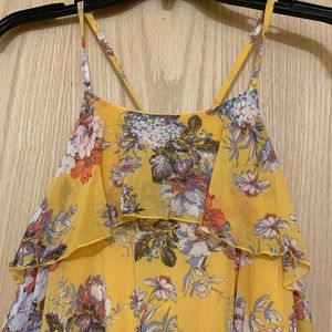 New Yellow Coral Floral Ruffle Maxi Dress 2X